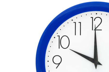 Clock with blue frame on white background. Ten oclock photo