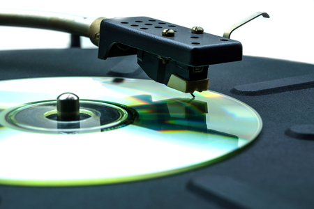 soundtrack: Abstract comic turntable with a CD instead of a vinyl disc