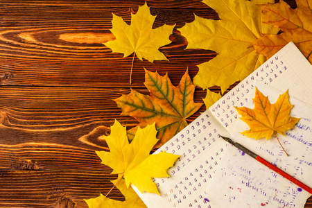 Old school exercise book with a wooden ink pen and yellow maple leaves on a background of old wood . A exercise book first-grade and wooden pen  for ink of the mid-20th century. Stock Photo