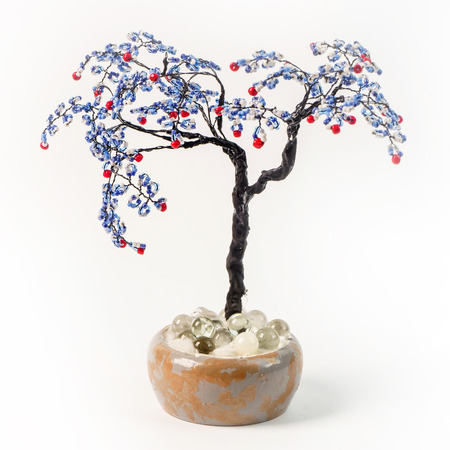 Handmade article: money tree from glass beads and wire. Lilac fr Stock Photo
