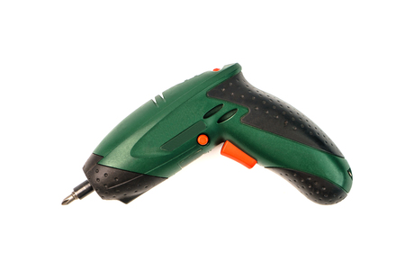 Electronic screwdriver on white background. Cordless tool for for drilling holes and tightening screws. Stock Photo
