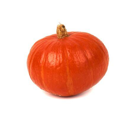 Fresh ripe Hokkaido pumpkin isolated on white background.