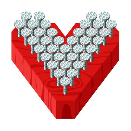 Valentines heart made of nails hammered into a red Board. A gift for a brutal man on Valentines day. Vector illustration.