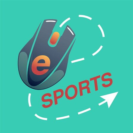 e-sport icon with red letters on a green background with a computer mouse and cursor, vector flat icon in casual style Vectores