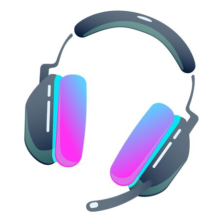 Dark computer gaming headset with microphone on isolated background, bright flat icon with pink and blue colors. white back vector Illustration