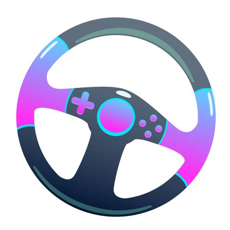 Dark game steering wheel on an isolated background, bright flat icon with pink and blue colors. white background vector