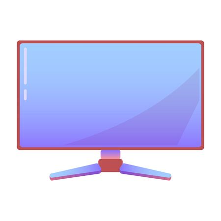 Computer Monitor or display on isolated background, bright flat icon in lilac and red colors. white background vector Vektorové ilustrace