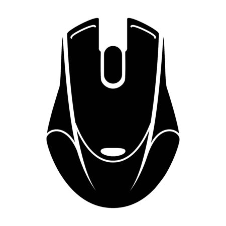 Gaming mouse glyph icon. Esports equipment. Computer mouse. Game device. Silhouette symbol. Negative space. Vector isolated icon