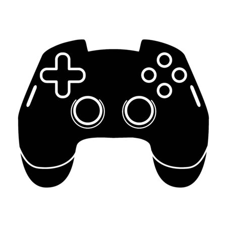 Gaming joystick glyph icon. Esports equipment. Computer gamepad. Game device. Silhouette symbol. Negative space. Vector isolated illustration Illustration