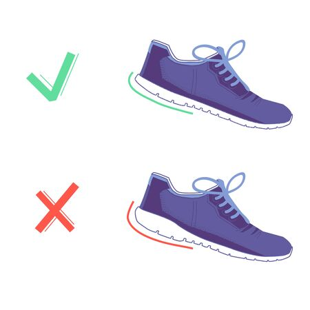 right and wrong shoes with natural running. Running shoes. Healthy steps of run concept. Vector flat graphic design isolated illustration. Ilustracja