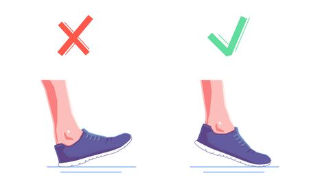 right and wrong foot position when running. Natural running. Healthy steps of run concept. Vector flat graphic design isolated illustration. Ilustracja
