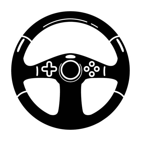 Game steering wheel glyph icon. Esports equipment. Computer wheel. Game device. Silhouette symbol. Negative space. Vector isolated illustration