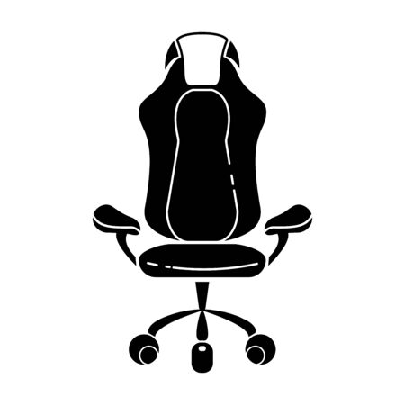Gaming chair glyph icon. Esports equipment. Computer chair. Silhouette symbol. Negative space. Vector isolated illustration Иллюстрация