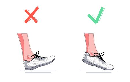 Right and wrong foot position during natural running. Healthy steps of run concept. Vector flat graphic design isolated illustration. Çizim