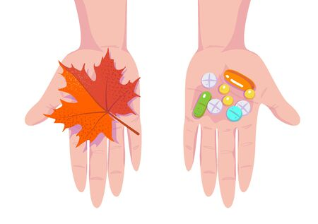 Pills, tablets and red maple leaf on hands. Seasonal depression and Antidepressants. Autumn cold and flu. Season affective desorder. Flat vector illustration on white isolated background.