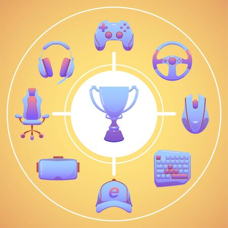 Color Esports icons set. Game tournament. Vector gaming devices in purple color. Infographic cybersport illustration. Outfit eSportsman to achieve the Champions Cup.