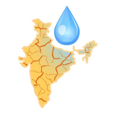 India needs water. Water scarcity concept. Drought in India and a drop of water. Vector illustration, isolated on white background.