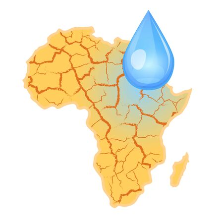Africa needs water. Water scarcity concept. Drought in Africa and a drop of water. Vector illustration, isolated on white background.