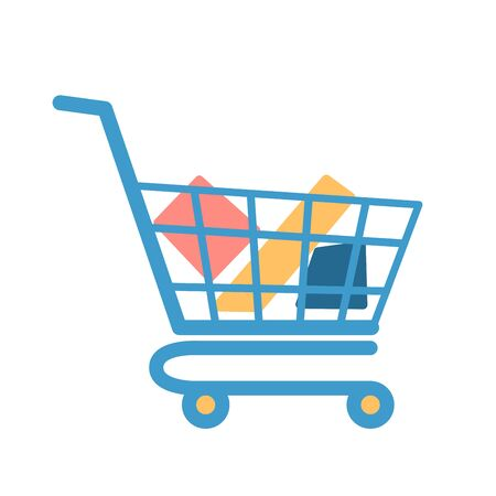 shopping cart with goods in flat modern design. Colored vector icon isolated white background. Stock Illustratie