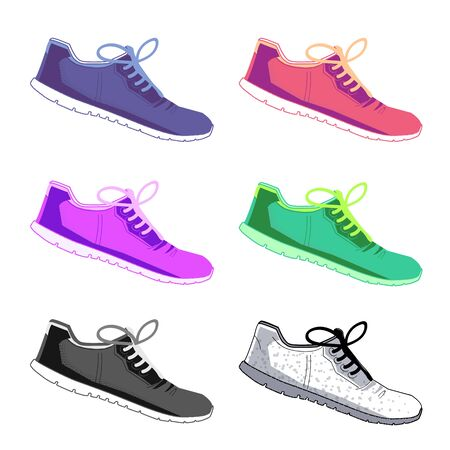 Sports shoes vector set. Fashion sportwear, everyday sneaker, footwear clothing illustration on isolated background Foto de archivo - 129912154