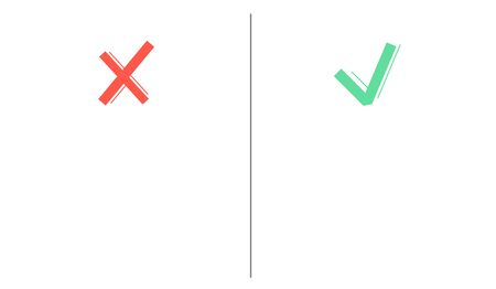 Tick and cross sign with empty space. Yes no symbols green and red. Right and wrong icons with copy paste space. Vector illustration for evaluation quiz on isolated white background. Çizim