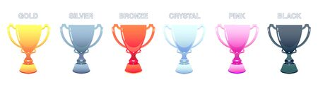 types of cups and prizes gold, silver, bronze, crystal, pink, black cup on isolated background. Иллюстрация