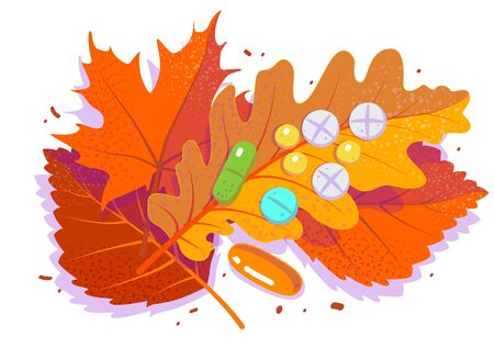 Pills and tablets on red falling leaf. Antidepressants, autumn cold and flu. Season affective desorder. Flat vector illustration on white isolated background. Ilustrace