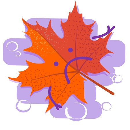 Red sad leaf. Seasonal depression. Autumn cold and flu. Season affective desorder. Flat vector illustration on white isolated background. Illustration