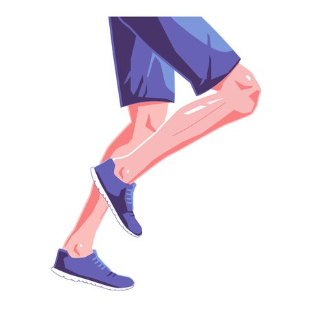Runner legs flat illustration on isolated white background. Blue sneakers and clothes. Vector graphic design concept.