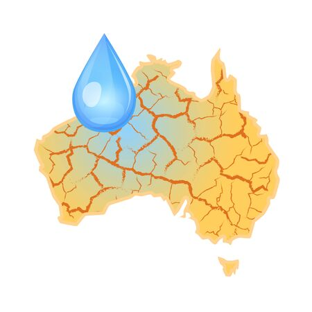 Australia needs water. Water scarcity Global concept. Drought in Australia and a drop of water. Nature disaster. Vector illustration, isolated on white background. Banco de Imagens - 129960875