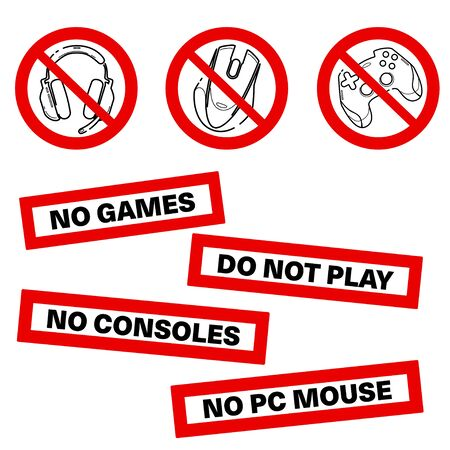 No games. No consoles. No gamepad set icon. No joystick sign. Forbidden gamepad icon. Prohibited gaming icon set, line sign design. Do not play games. Stickers. Line concept art with izolated back