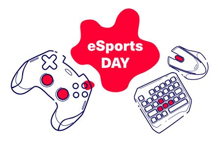 Consoles and pc games, esports day game concept competitive. Line concept art with izolated back with red color spot.