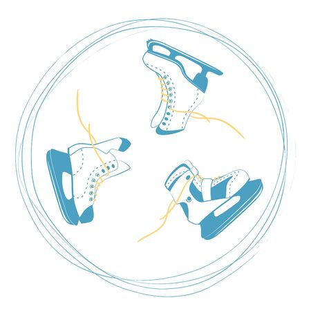 set of ice skates with bright laces in a rut circle. Ice rink symbol. Sport equipment logo in scratched lines. Vector Illustration isolated on white back