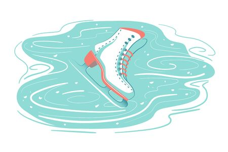 Retro Ice skate on scratched rink. Frozen Snow background with marks from skating. Winter season sport activity, Figure skating, holiday symbol card. Isolated vector illustration on white backdrop.  イラスト・ベクター素材