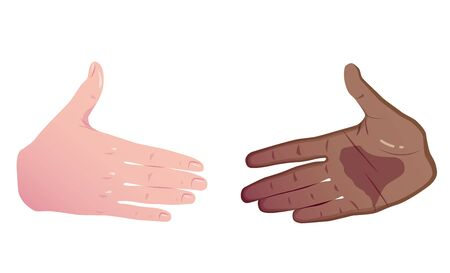 interracial business. Equality in trade. Two hands white and black before handshake. Vector Flat Concept Isolated on white background.