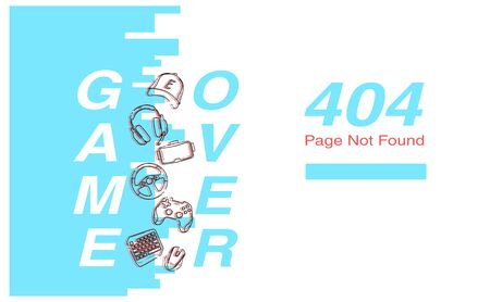 Page 404 with concept Game Over, blue color and Glitch linear Game Gadgets icons - gamepad, headphones, vr, mouse, cup, keyboard elements. 向量圖像