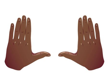 Black Hands Frame Cropping Gesture. Flat Framing hands big square cropping. African American Hands taking focus frame shooting like camera. Vector Color concept Isolated on white background.