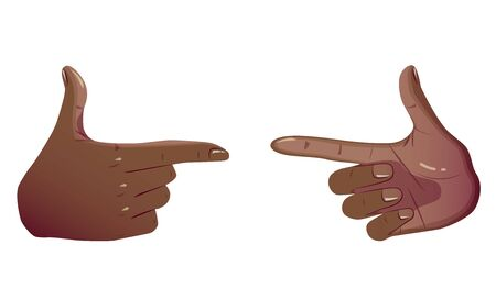 Two Black Pointing Hands Make Gesture Forefinger. Showing Gestures Sign Looks Like Holding Gun and Ready For Shoot Or Push Button. Vector Flat Concept Isolated on white background.