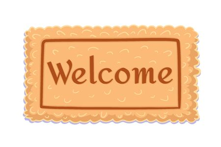 Welcome. Flat doormat for decoration design. Element of Home decor. Carpet with the text isolated on white background. Welcome greeting and invitation to come in. Vector Illustration