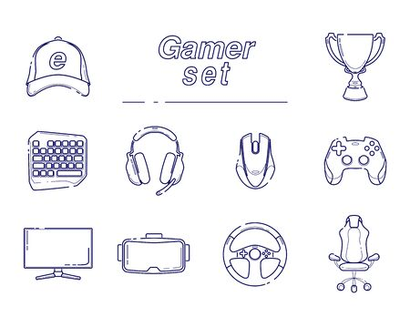 eSports set, Gaming gadgets, line set icon. Modern devices for video games, headset for virtual reality, equipment for gamers, joysticks, keypad on isolated white background