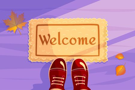 Welcome doormat with Yellow leaves and red shoes. Hello Autumn season background. Horizontal concept of Greeting card and invitation banner. Color flat visit illustration. Guest design vector poster.