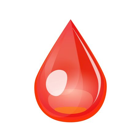 Blood drop isolated on white background. Red drop medical vector, donation, dna test, disease