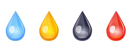 Drops icon set in falling liquid form, blue, yellow, black, red color. Simple Vector collection of oil, blood, petroleum, water, ink, tear, juice droplets isolated on white background.