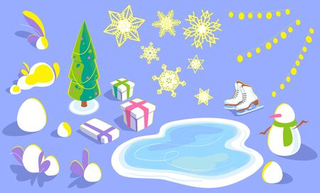 Set of xmas elements for concept design, illustrations, cards in isometric view. winter holiday objects in flat, christmas tree, snowflakes, snowdrifts, ice rink, skates, snowman, gift boxes, garlands.
