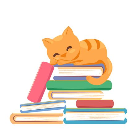 Red cat sleeping stack books on white background. Book library, education literature, knowledge concept. Reading relax banner template. Cute tired kitten card design. Flat vector isolated illustration