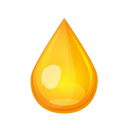 Yellow oil drop concept. Liquid gold droplet flying down. Honey drib vector illustration isolated on white background.