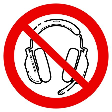 No games. No headphone icon. Forbidden gamephone icon. Prohibited gaming line sign design. Line concept art with izolated back