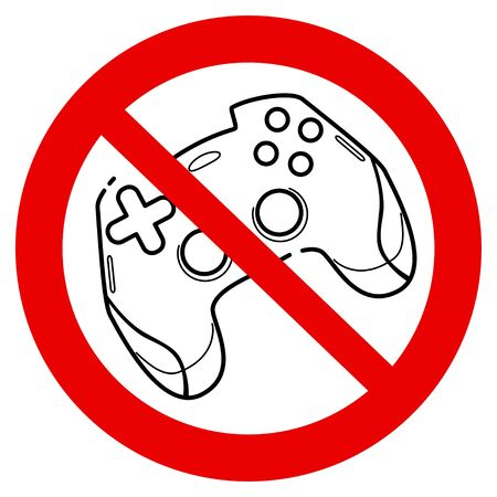 No games. No gamepad icon. No joystick sign. Forbidden gamepad icon. Prohibited gaming icon. prohibition line sign design. Do not play games icon. Line concept art with izolated background Vektorové ilustrace