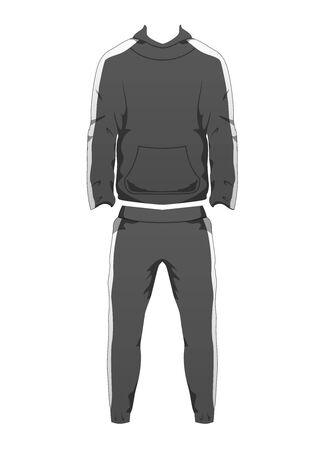 Mens Sport Outfit Suit Template, Running Gym Sportwear, Tracksuit Fitness Hoody and Pants for winter. Long Male sport Clothing Set for training, run. Vector isolated design on white background.