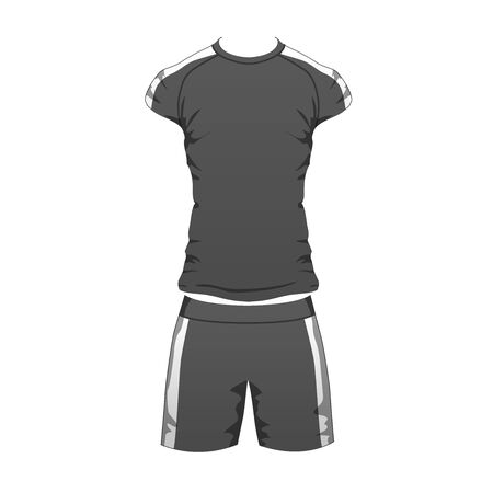 Mens Sport Outfit Suit Template, Running Gym Sportwear, Tracksuit Fitness T-shirt and shorts. Short Male sport Clothing Set for training, run. Vector isolated design on white background. Vector Illustratie